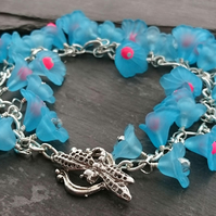 Turquoise, pink and silver flower bracelet with dragonfly clasp, floral bracelet