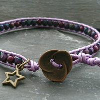 Lilac leather, purple glass bead and Swarovski faux glass pearl bracelet