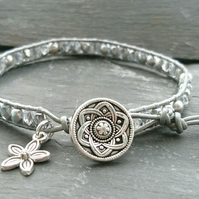 Silver leather, glass bead and Swarovski glass pearl bracelet with flower button