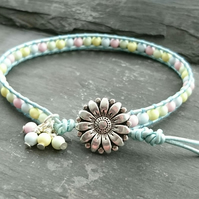 Metallic blue leather and pastel mix Swarovski pearl bracelet with flower button