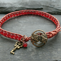Carnelian bead and metallic leather bracelet, July birthstone