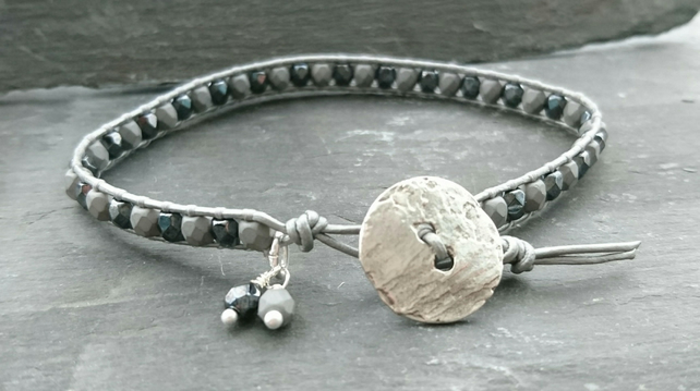 Mixed grey leather and glass bead bracelet with silver button