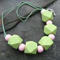 Pastel pink and green wooden geometric necklace