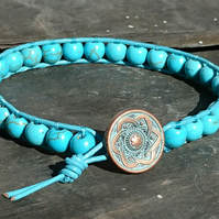 Turquoise bead and leather bracelet, gemstone for December