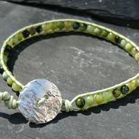 Leather and chrysoprase bracelet, semi precious gemstone for May