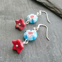 Turquoise and red delicate flower earrings, sterling silver ear wires