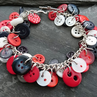 Red, white and blue button bracelet, nautical bracelet