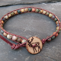 Leather and Jasper men's bracelet, stag button