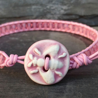 Pastel pink leather and glass bead bracelet with ceramic bee button