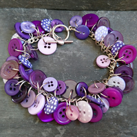 Purple mix button bracelet, charm style bracelet