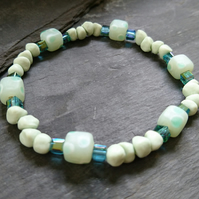 Pale green beaded elastic bracelet, stretchy bracelet