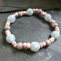 Pink and grey glass, ceramic and wood bead elastic bracelet, stretch bracelet