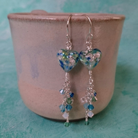 Murano glass, blue and green heart with Swarovski crystals, sterling silver