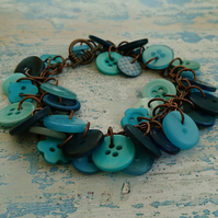 Turquoise and aqua button mix bracelet, copper chain and toggle clasp