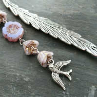 Feather bookmark with lilac flower beads and bird charm