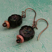 Dark purple flower and rose gold bead earrings with handmade copper ear wires