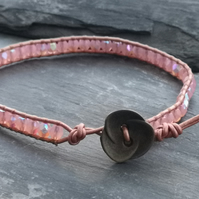 Rose gold and pink leather and glass bead bracelet with flower button