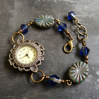 Antique gold decorative watch with blue Czech glass beads