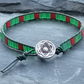 Dark green leather and red and green tile bead bracelet with decorative button