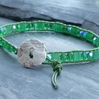 Bright green leather and glass bead bracelet with silver button