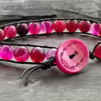 Black leather and pink agate semi precious bracelet with button fastener