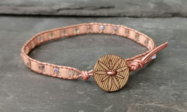 SALE rose gold leather bracelet with peach glass beads and wooden beads