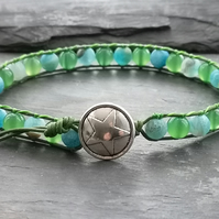 Green and blue agate and leather bracelet, star button, semi precious