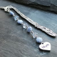 Mum bookmark, blue floral beads, Mother's Day gift