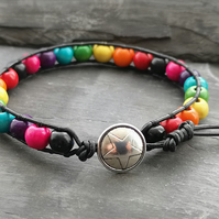Rainbow wooden beads and black leather bracelet, star button, multicoloured