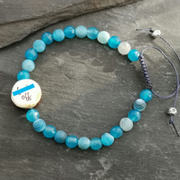 """F Off"" blue agate bracelet with sweary ceramic bead"