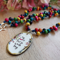 """F-it List"" wooden rainbow bead necklace with ceramic pendant, sweary"