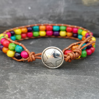 Leather bracelet with rainbow wooden beads and star button fastener, Pride