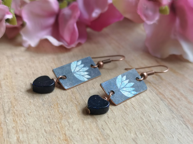 Lotus flower navy and copper earrings with blue gold stone heart