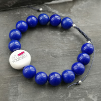 """Go F Yourself"" sweary beaded adjustable bracelet, blue semi precious beads"