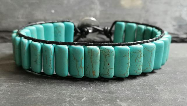 Turquoise rectangular bead and black leather bracelet