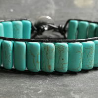 SALE turquoise rectangular bead and black leather bracelet