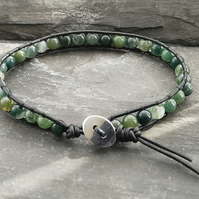 Black leather cord and moss agate semi precious bracelet