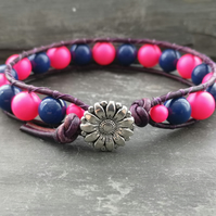 Chunky purple leather bracelet with Swarovski pearls in neon pink and navy