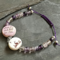 Fluorite purple bracelet with ceramic quote beads, adjustable