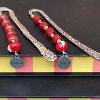 Apple for the teacher beaded bookmark, end of year teacher gift