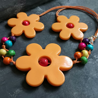 SALE orange flower power acrylic necklace with rainbow wooden beads