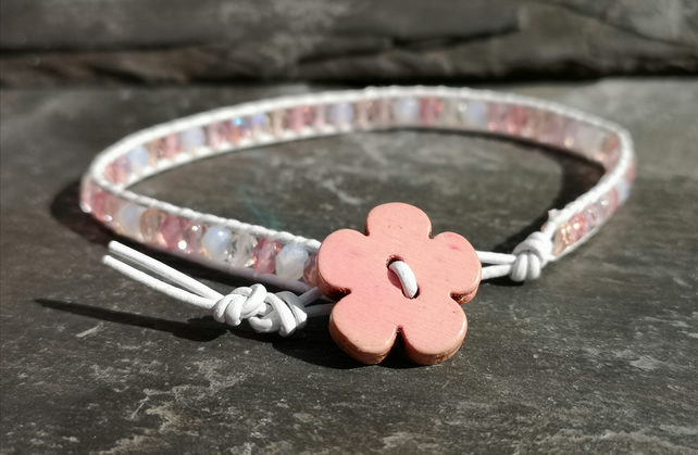 White leather bracelet, mixed pink Czech glass beads and wooden flower button