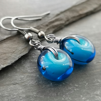 Blue lamp work bead earrings with gunmetal ear wires
