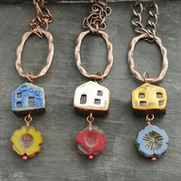 Ceramic house and Czech glass flower beads, copper oval ring and chain