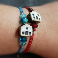 Ceramic house adjustable bracelet with Czech glass beads, red or blue