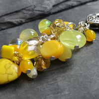 Silver bag charm with yellow Czech glass beads