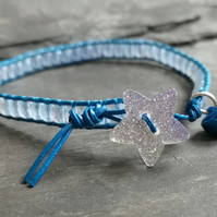 Blue festive leather and glass bead bracelet with glitter star button, Christmas