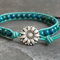 Chrysocolla and leather bracelet with flower button fastener, semi precious gems