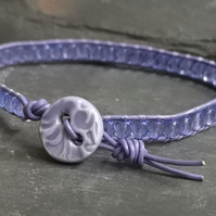 Lavender glass bead and purple leather bracelet with lilac ceramic button