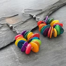 Rainbow shell chip earrings with gunmetal ear wires